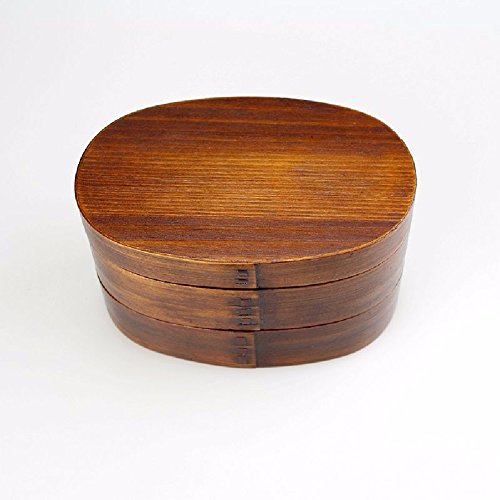 SDKKY Caja de madera doble sushi ovalado, loncheras, loncheras