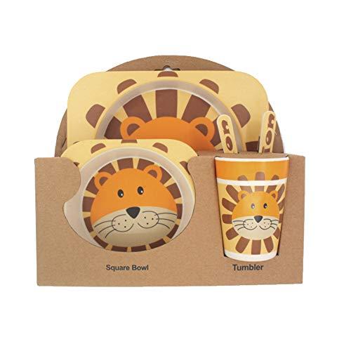5-teiliges Bambus-Geschirrset für Kinder - Acogedor 100% Bambusfaser-Kinderteller, schüssel, tasse, messer und -gabel, BPA-frei/ungiftig und sicheres Babyfütterungsset - Animal Design(2#)