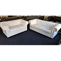 Chesterfield Sofa in White Bonded Leather Deep Buttons