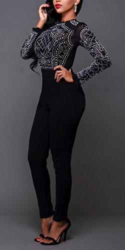Damen Sommer Elegant Slim Fit Jumpsuit Spielanzug Langarm Rundkragen Taille Playsuits Glitzer Overall Young Fashion Hipster Party Abendmode S-Xl