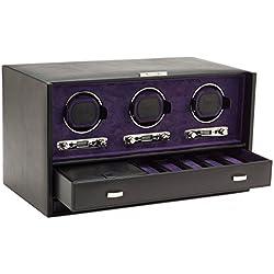 Wolf Blake Triple 2.7 Automated Mechanical Lockable Watch Winder - Black & Purple