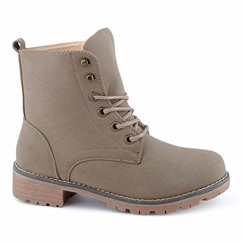 Damen Stiefel Stiefeletten Schnür Trekking Boots Outdoor Wander Profilsohle Worker Schuhe Khaki