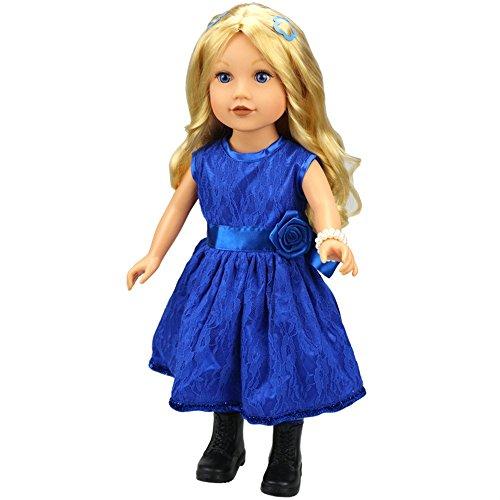 Wokee Puppe Fashion Kleidung,Blau Elegantes seidiges Satin Organza Abendkleid Party Kleid Cinderella Ballkleid für 18-Zoll-American-Girl-Puppe Royal Blue