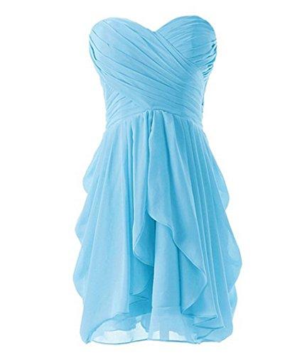 PLAER femmes Bra robe de demoiselle d'honneur court paragraphe robe de toast de mariage Sexy robes de cocktail danse bleu ciel