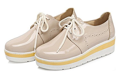 Aisun Damen Mädchen Klassisch Schnürsenkel Brogues Flach Schnürhalbschuhe Sneakers Aprikosenfarben