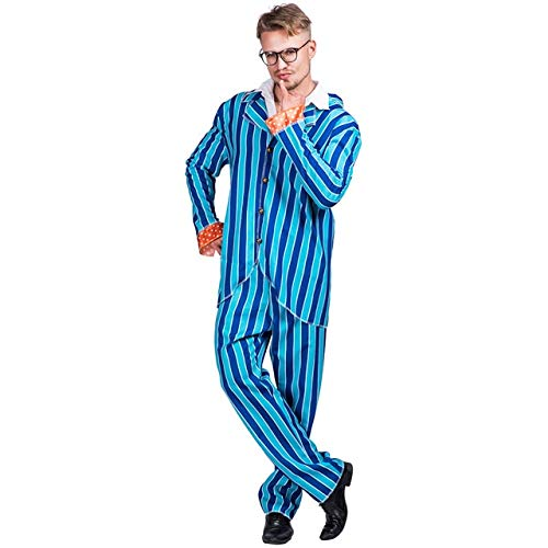 WSJDE Austin Powers Costume Men's 80s Blazer Party Cosplay Blue Striped Disco Costumes Suit Adult Halloween Costume for Men One Size Blue