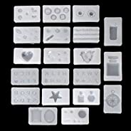 EAPTS 20Pcs 3D Silicone Nail Art Decor Expory Resin Cabochon Jewelry Pendant Mold Set As picture show As picture show