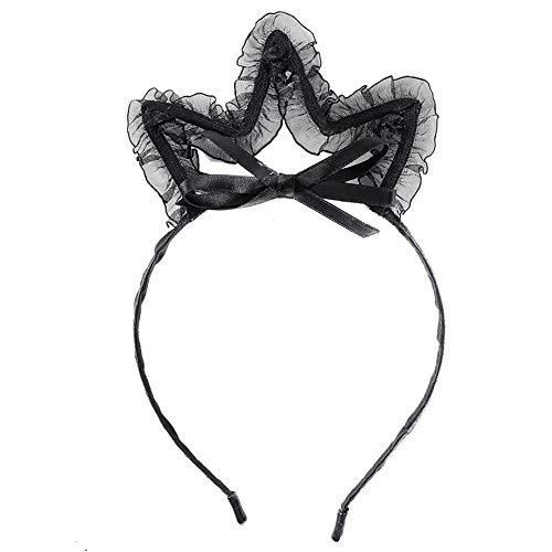 dische Frauen Black Bunny Ears Lace Bowknot Stirnband(Krone) ()