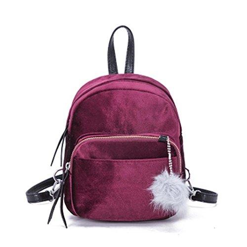 TUDUZ Leichter Rucksack Mini Fur Ball Rucksack Mode Schultertasche Solide Damen Mädchen Reise Schultaschen Daypacks (Wein)