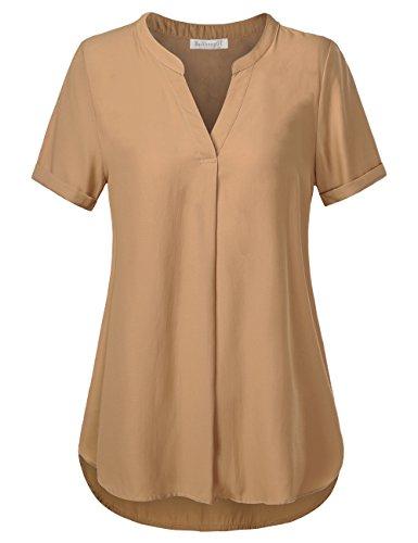 BaiShengGT Damen V-Ausschnitt Kurzarm T-Shirt Locker Shirt Bluse Oberteile Apricot M