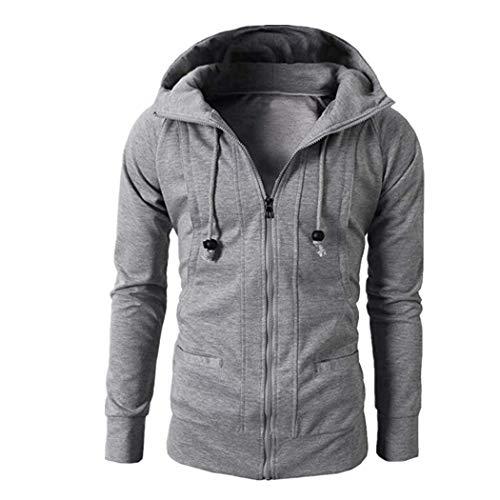 JUTOO Fashion Mens Herbst Winter Langarm Sport Reißverschluss Hoodie Pullover Bluse Tops(A1-Grau,XXX-Large)