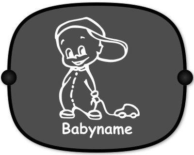 Sonnenschutz Auto Baby Kinder Sonnenblende mit Wunschtext - Motiv 149 (großer Aufdruck)