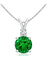 Silvernshine Women's 1.20 Ct Round Emerald V-Bail Pendant With Sim. Diamond In 14K White Gold Fn