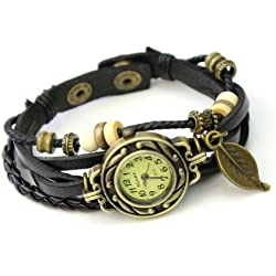 Fashion Elegant Leaf Leather Strap Roma Number Dial Woman Watch Bracelet Black