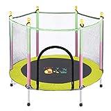 Trampolin 55 Zoll Sicherheit Fitness mit Pad, tragbare Trampoline Trainer Sportgeräte, Indoor Fitness für Kinder (Farbe : Gelb)