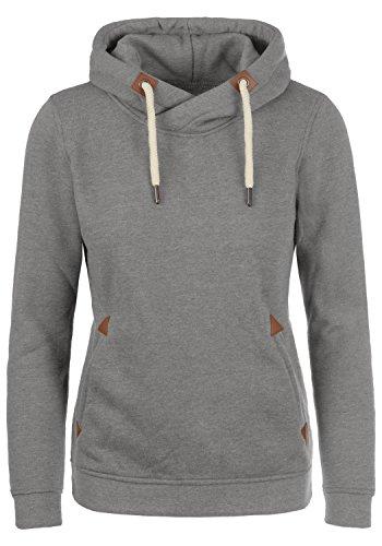 DESIRES VickyHood Damen Damen Hoodie Kapuzenpullover Pullover mit Kapuze Cross-Over-Kragen und Fleece-Innenseite, Größe:L, Farbe:Grey Melange (8236)