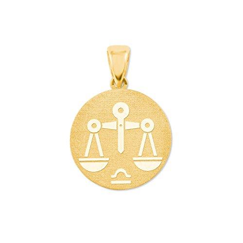 amor Sternzeichen Waage Münzen-Anhänger Gold 375
