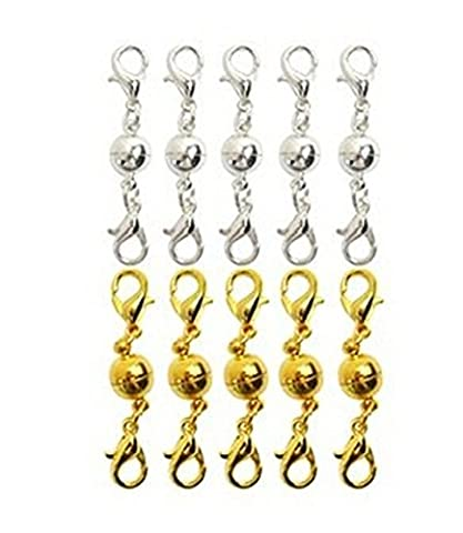 ANKKO 10pcs Ball Tone Magnetic Lobster Clasps for Jewelry Necklace