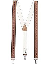 Xeira Bretelles de haute qualité avec 3 Clips fort de 35mm dans 15 Design - Olive Marron Bordeaux
