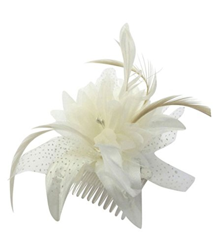 Cream chiffon flower & feather fascinator on comb. Perfect for weddings, races or other special occasions.