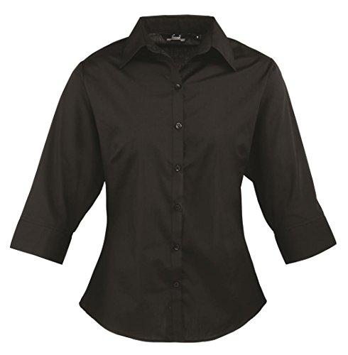 Premier Workwear Ladies Poplin 3/4 Sleeved, Blouse Femme Noir