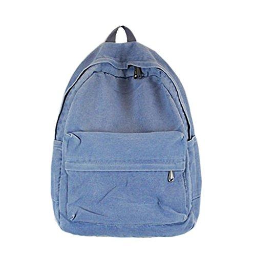 97e1249d3a9a4 WanYang Mädchen Jungen Baumwolle Denim Rucksack Schule Teenager Schultasche  Schulrucksack Daypacks Pastell Blau
