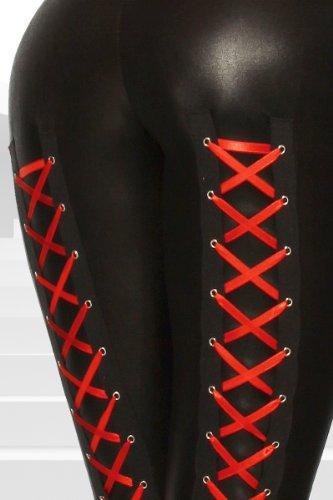 Yourdesignerz schwarze Wetlook Leggings mit Schnürung glänzend Damen hautenge Hose tights Schwarz/Rot