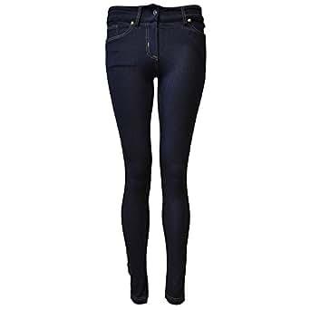 Women's Ladies Skinny Fit Denim Look Jeggings (4 (UK 8), Navy) [Apparel]