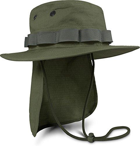 normani Boonie Hat Krempen Outdoor Hut \'Junglescout\' mit abnehmbarem Nackenschutz für den Sommer Farbe Oliv Größe XL