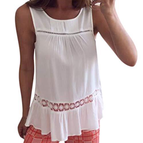Wawer Damen Top 💕 Damenmode ärmellose Sommer Neue Feste Tank T-Shirts aushöhlen Tops, Tank Tops Weste Flacher Kragen