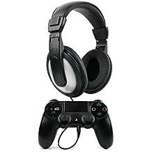 DURAGADGET Auriculares Estéreo Para Mando Dualshock 4 - En Negro Y Blanco Con Cable De 2 m + Clavija Jack 6.5 mm