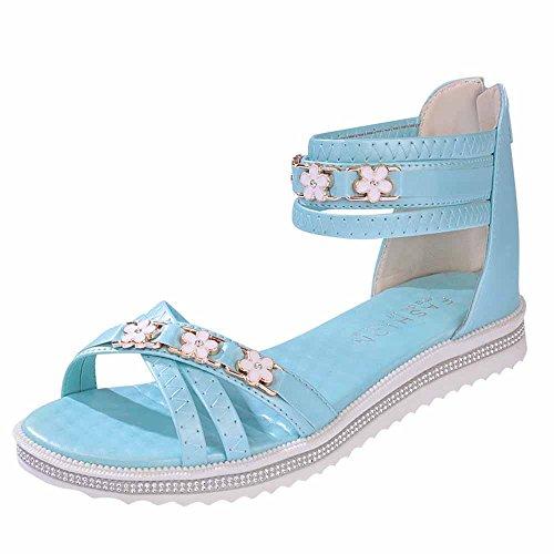 Longra Donne Open Toe Sandali con tacco piatto Blu