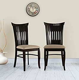HomeTown Cardiff Solid Wood Dining Chair Set of Two in Mocha Colour