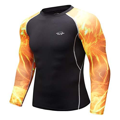 Herren Funktionsunterwäsche Langarm Shirt Fitness Sweat Atmungsaktiv Sport Enges Langarmshirt Sport weiche T-Shirt Top von Btruely -