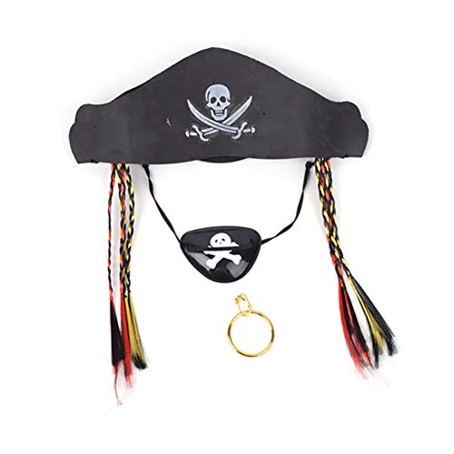 Ouken 1 PCs Piraten-Party hat Captain Kostüm Cap Halloween Masquerade Cosplay Accessoires Requisiten mit Augenmaske