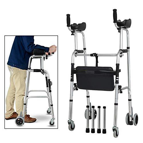 Bariatrischer Hochleistungs-Klappwagen, zusammenklappbarer Aluminium-Gehrahmen, Rollwagen mit Armlehne, Gehhilfe für die Mobilität, Trainer für die unteren Gliedmaßen, Hochleistungs-Rollator mit Sitz