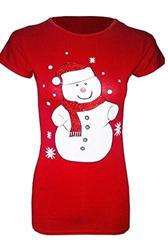 Noël SANTA RUDOLPH PENGUIN GLITTER gelés MIGNON T-SHIRT HAUT-TAILLE (M/L (UK 12-14) EU 40-42, Snowman Red)