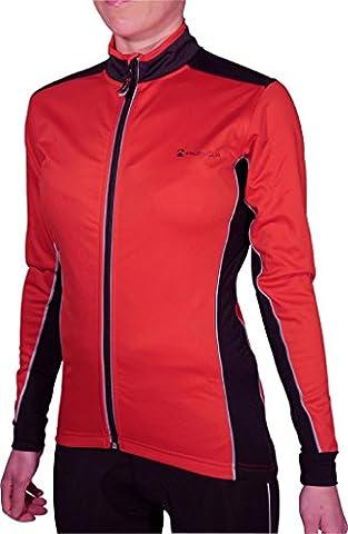 More Mile Piu Miglia Bari Rouge Coque souple pour femme Fermeture Éclair intégrale Cycle Veste de cyclisme pour femme pm2232 rouge Rouge/Noir 42