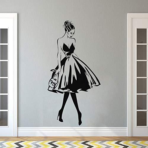 Wandtattoo Frau Gesicht Mode Stil Vinyl Wandaufkleber Kleidung Boutique Kleid Design Wand Poster Schönheitssalon Decor 57x112CM