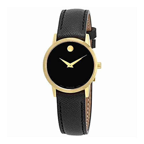 Movado Women's 28mm Black Leather Band Gold Plated Case Quartz Watch 0607205