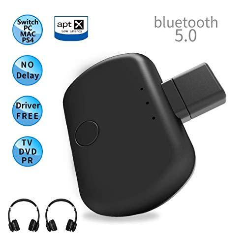 HOUSON USB Bluetooth Adapter 5.0 Typ-C, Wireless Audio Transmitter  Unterstützt Voice Chat im Spiel, aptX Low Latency, Dual Link für kabellosen Gaming-Kopfhörern und PC TV