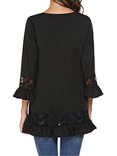 AmanGaGa Camicia Pizzo Donna Elegante Magliette Manica a 3/4 Ragazza Camicetta Maniche Tromba Top V-Collo Loose Bluse Moda T Shirt Black