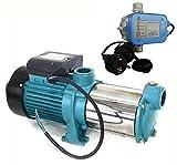 Gartenpumpe Kreiselpumpe MHI2200 INOX + Steuerung PS-01 mit Trockenlaufschutz - Leistung: 2200W - Spannung: 230 V / 50 Hz 9600 L/h - 160l/min. Max. Druck 5,8 bar. Laufräder aus EDELSTAHL.