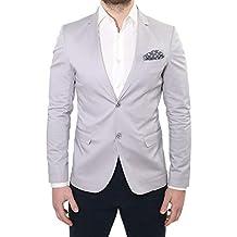 4cb7b3a042ee Ciabalù Giacca Uomo Elegante Primaverile Sartoriale Slim Fit Grigio Perla  con Pochette da Abito Made in