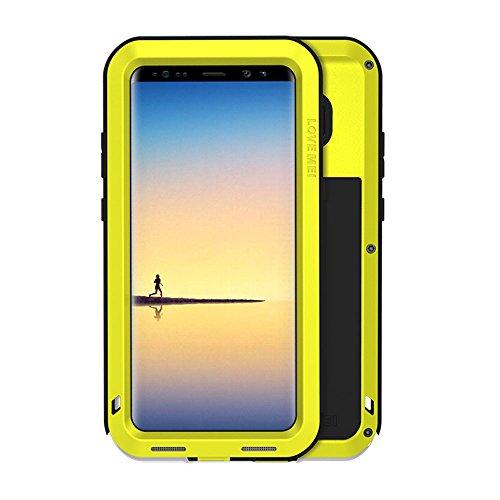 Galaxy Note 8 Hülle, Love mei Mächtig Leistungsstarke Schwerlast Hybride Aluminium Metall Rüstung Stoßfest Schneesicher Schmutzabweisend Staubdicht Case für Samsung Galaxy Note 8 (Gelb) (Galaxy Note 4 Fällen-gorilla-glas)