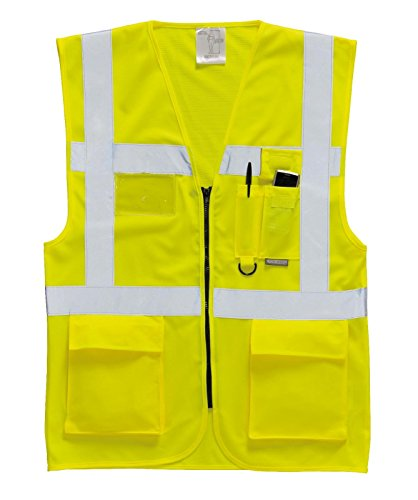 Portwest Sicherheitsweste Berlin S476, Medium, gelb, 1 Polyester Traffic Safety Vest