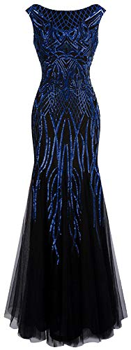 Angel-fashions Damen Muster Paillette Bateau Uberwurfhulse Flapper Meerjungfrau Abendkleid (X-Large, Blau Schwarz)