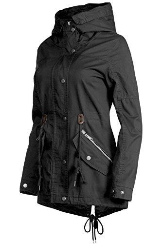 Trisens Damen Jacke ÜBERGANGSJACKE Trenchcoat Kapuze 100% Baumwolle LEICHT KURZ, Farbe:Schwarz, Größe:S - 2