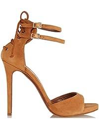 Women's cool boots SYYAN Mujeres Roma Cuero Peelings TIE Wraps Dedo Del Pie Abierto Hecho S Mano De La Bomba Vestido...