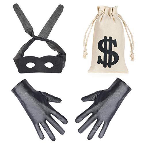 Eye Black Kostüm - Beefunny Räuber Kostüm Einbrecher Kostüme Kostümzubehör Black Eye Mask Handschuhe Geld Tasche Kordelzug Dollarzeichen Symbol für Geschenk Spielzeug Parteibevorzugung (A)